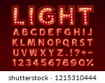 Stock vector font lamp symbol red letter and numbers set vector illustration 1215310444