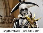 carnival black white mask and... | Shutterstock . vector #1215312184