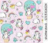 beautiful unicorn on a balloon... | Shutterstock .eps vector #1215316024