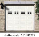 white garage door of a detached ... | Shutterstock . vector #121531999