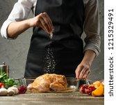 chef sprinkles frozen salt ... | Shutterstock . vector #1215329491
