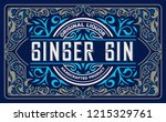 gin label with floral frame | Shutterstock .eps vector #1215329761