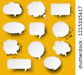 retro speech bubble with yellow ... | Shutterstock . vector #1215335617