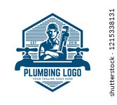 plumbing logo template with... | Shutterstock .eps vector #1215338131