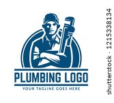 plumbing logo template with... | Shutterstock .eps vector #1215338134