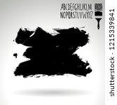 black brush stroke and...   Shutterstock .eps vector #1215339841