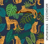 leopard pattern with tropical... | Shutterstock .eps vector #1215340144