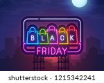 night city. sign neon. black... | Shutterstock .eps vector #1215342241