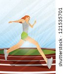 girl running on a track | Shutterstock . vector #121535701