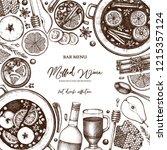 mulled wine design. merry... | Shutterstock .eps vector #1215357124