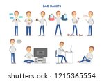 man with a bad habits set.... | Shutterstock .eps vector #1215365554