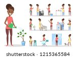 woman clean home and doing a... | Shutterstock .eps vector #1215365584