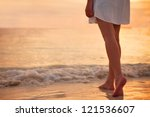 young woman in white dress... | Shutterstock . vector #121536607