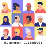 people icons. young  seniors  ... | Shutterstock .eps vector #1215385081