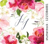 vector card with floral pattern ... | Shutterstock .eps vector #1215386881
