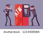 atm hacking crime. automated... | Shutterstock .eps vector #1215400084