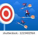 three businessmen stand on... | Shutterstock .eps vector #1215402964