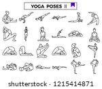 yoga poses icon set. | Shutterstock .eps vector #1215414871