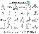 yoga poses icon set. | Shutterstock .eps vector #1215414874