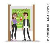 amusement park entrance. people ...   Shutterstock .eps vector #1215424984
