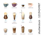 set of different coffee types.... | Shutterstock .eps vector #1215424987
