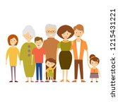 big nuclear family. vector... | Shutterstock .eps vector #1215431221