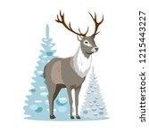 forest deer with horns vector... | Shutterstock .eps vector #1215443227