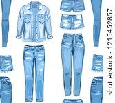 fashion seamless pattern. jean... | Shutterstock .eps vector #1215452857