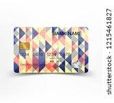 colorful vintage credit card...   Shutterstock .eps vector #1215461827