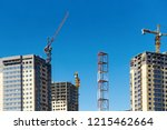 high rise cranes and building... | Shutterstock . vector #1215462664