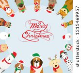 dogs wearing christmas costume  ... | Shutterstock .eps vector #1215469957