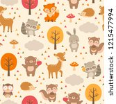 cute woodland animals seamless... | Shutterstock .eps vector #1215477994