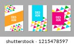 backgrounds set with colorful ... | Shutterstock .eps vector #1215478597
