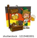 cartoon bavarian with mustache... | Shutterstock .eps vector #1215483301