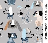 Stock vector childish seamless pattern with funny creative dogs trendy scandinavian vector background perfect 1215483307