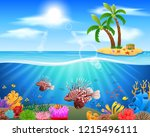 lionfish and coral reefs in the ... | Shutterstock . vector #1215496111
