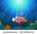 lionfish and coral reefs in the ... | Shutterstock . vector #1215496114