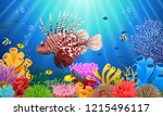 lionfish and coral reefs in the ... | Shutterstock . vector #1215496117