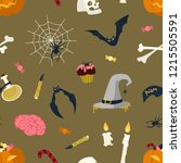 seamless pattern with halloween ... | Shutterstock .eps vector #1215505591