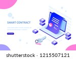 smart contract concept. can use ... | Shutterstock .eps vector #1215507121