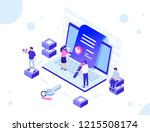 smart contract concept with... | Shutterstock .eps vector #1215508174