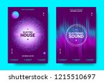 wave music poster with... | Shutterstock .eps vector #1215510697