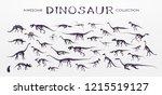 set  silhouettes  dino...   Shutterstock .eps vector #1215519127