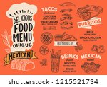 mexican menu template for... | Shutterstock .eps vector #1215521734