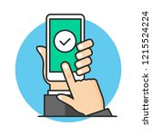 check mark on smartphone screen.... | Shutterstock .eps vector #1215524224