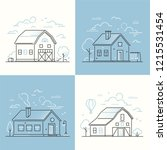 cottage houses   set of thin... | Shutterstock .eps vector #1215531454