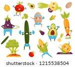 funny vegetables doing sports ... | Shutterstock .eps vector #1215538504