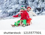little girl and boy enjoying... | Shutterstock . vector #1215577501