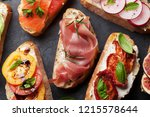 brushetta or traditional... | Shutterstock . vector #1215578644