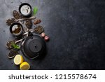 various tea and teapot. black ... | Shutterstock . vector #1215578674